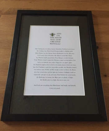And On The Sixth Day, God Created Manchester Framed Print